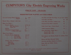 Cumpston's 1929-1930 price list