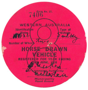 Horse drawn vehicle licence (Obv)