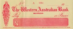 WA Bank cheque