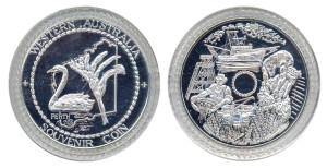 WA Souvenir coin (1986) swan silvered