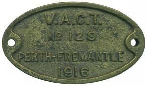 WAGT Perth-Fremantle No. 129 1916 (Obv)